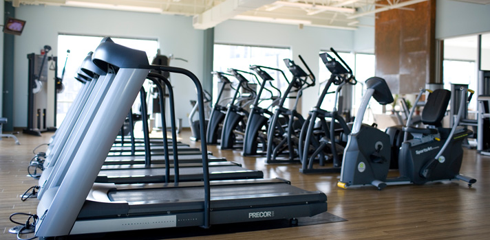 Gym Fitness Center Cardio equipment: treadmills, ellipticals and recumbent bicycles at INVIVO Wellness Milwaukee